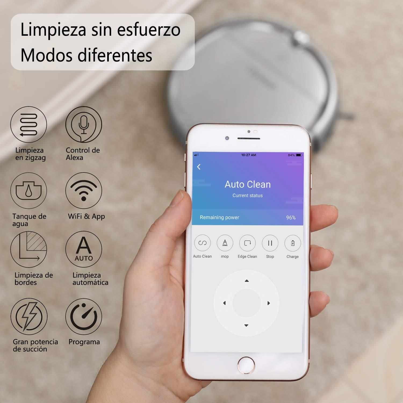 Clymen Q8 Aspiradora Robot 3 En 1 con Control De Voz, Aspiradora Robótica para Mascotas con Navegación 2D, Conexión WiFi Y Compatible con Alexa App, ...