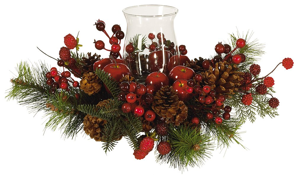 Christmas Evergreens Single Hurricane Candle Holder Centerpiece