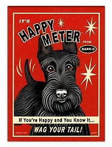 Retro Dogs Refrigerator Magnets - Scottish Terrier Happy Meter - Advertising Art