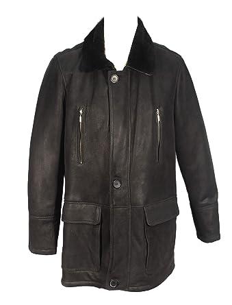 Calviso - schwarzer Wintermantel Lammfell Herrenmantel mit Shearling Kragen  Futter Leder Ledermantel  Amazon.de  Bekleidung 2f8108284c