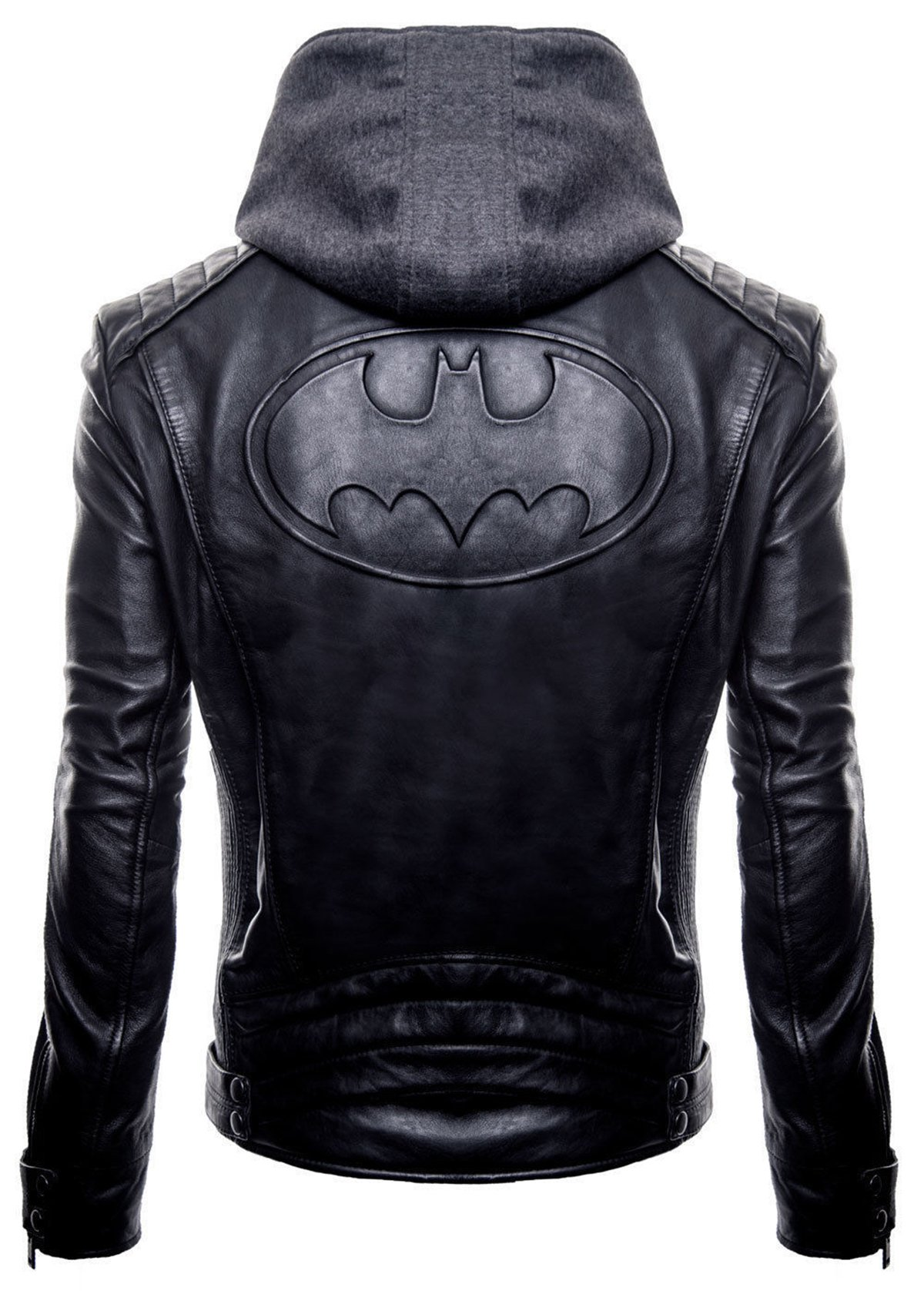 Brando Batman Logo Costume Biker Faux Leather Detach Hoodie Jacket by MPASSIONS