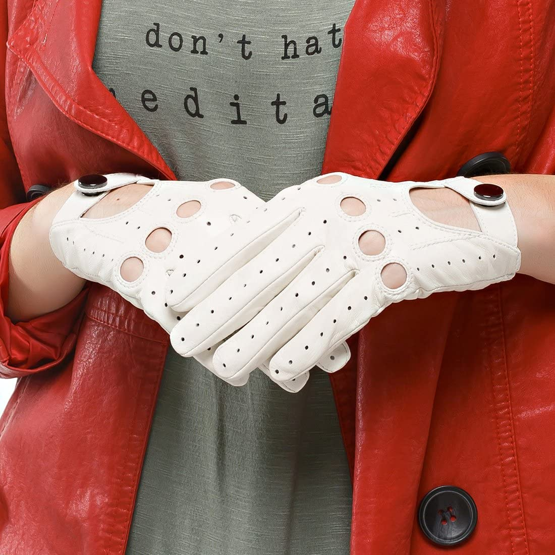 Nappaglo Damen Lederhandschuhe f/ür fahren Touchscreen klassische Lammfell Vollfinger Motorrad Ungef/üttert Handschuhe