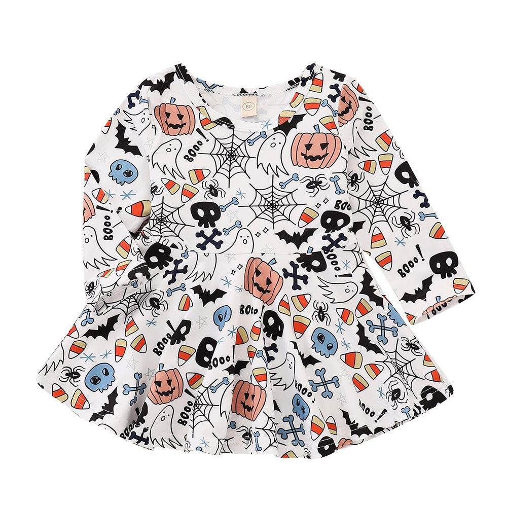 ❤️Mealeaf❤️Toddler Baby Girls Pumpkin Long Sleeve Cartoon Print Dress Halloween ClothesHalloween Gift (2-3 Years Old, White) meal-leaf