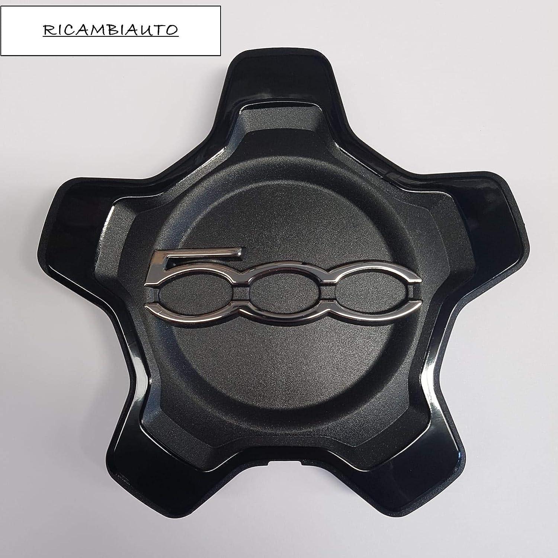 RICAMBIAUTO 1 COPRICERCHIO BORCHIA COPPA RUOTA COPRIMOZZO CERCHIO IN LEGA 500X 500 X SIMILE MA NON ORIGINALE BORDO NERO