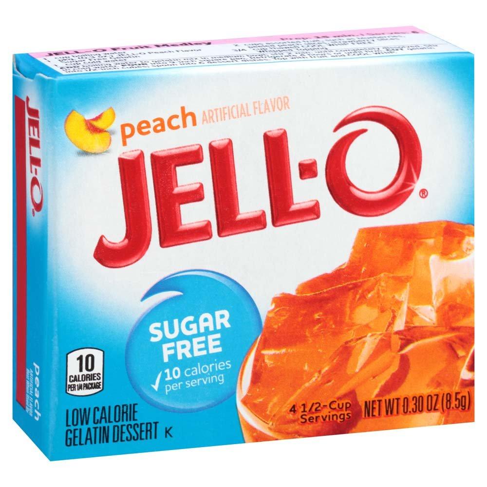 JELL-O Sugar-Free Gelatin Mix, Peach, 6 Count, 1.8 Ounce