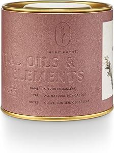 Illume Elemental Collection, Citrus Cedarleaf Natural Tin, 8.5oz Candle, Red