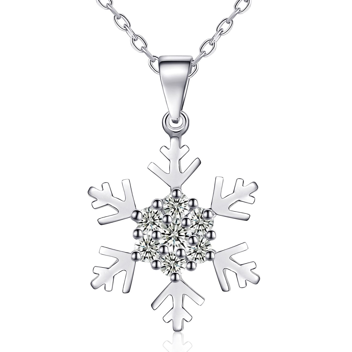 "Rosey Necklace for Women ""Snow Elves"" Silver Jewellery, Women Pendant 925 Sterling Silver with Cubic Zirconia, 18-inch Chain with 3.5 cm Extender RSNL002"