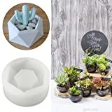 Diamond Shaped Pot Ceramic Clay Mold DIY Silicone Succulent Plants Concrete Planter Vase Molds Handmade Craft Cake Pizza Jelly Microwave and Freezer Mould (Diamond Shaped)