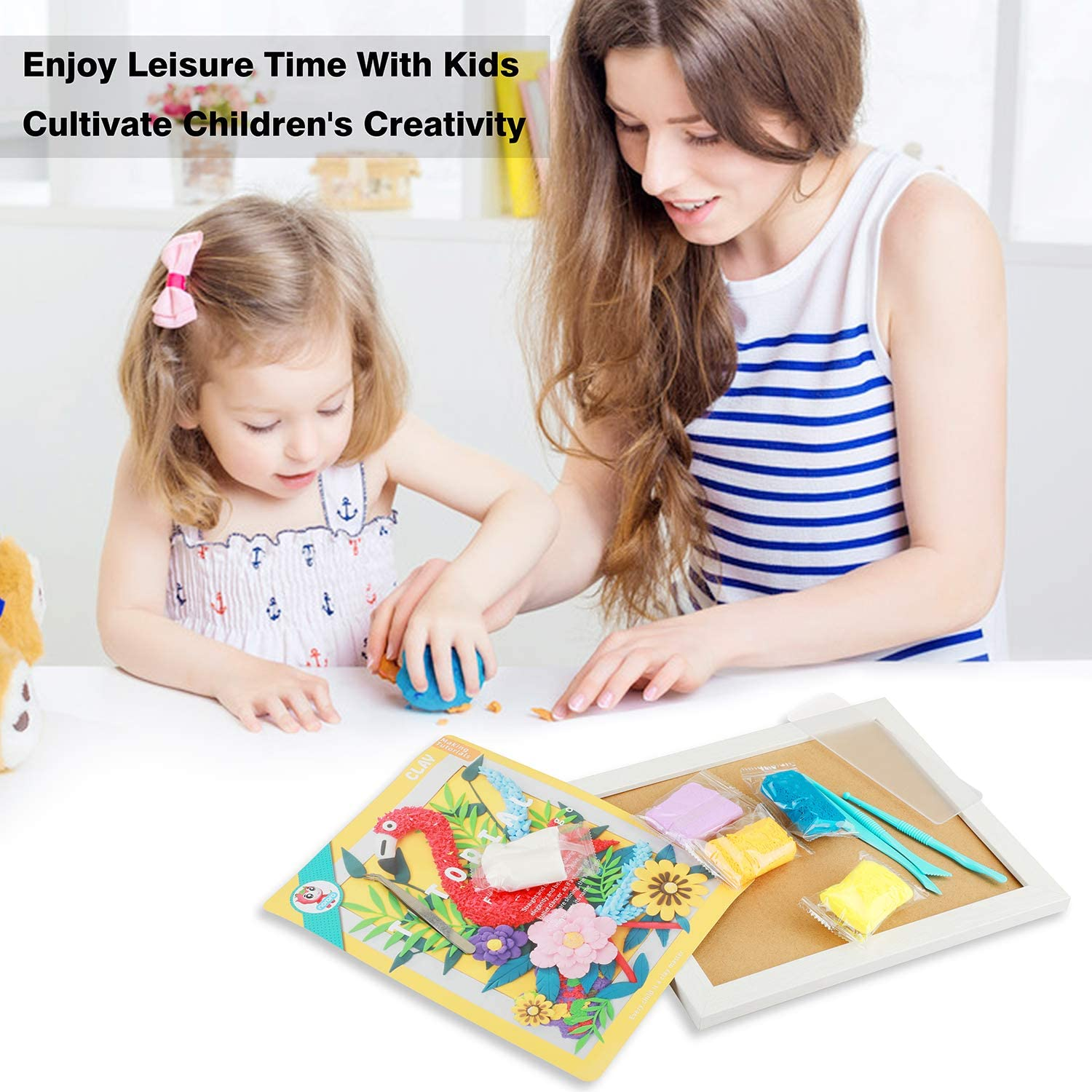 ideallife Handmade Molding Clay Photo Frame Painting Set Air Dry Modeling Clay Paiting Educational Set The Rain of Carrots Christmas Birthday Gift for Boys Girls Creative Arts Crafts Set for Kids