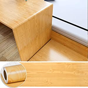 CHICHOME Cherry Wood Self Adhesive Wallpaper Vinyl Waterproof Wood Peel and Stick Removable Wallpaper Wood Grain Contact Paper for Furniture Countertop Cabinet Renovation 17.7x100 Inch