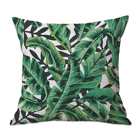 Cosanter Cojín Tropical Verde Diseño de Hojas Manta Funda de ...
