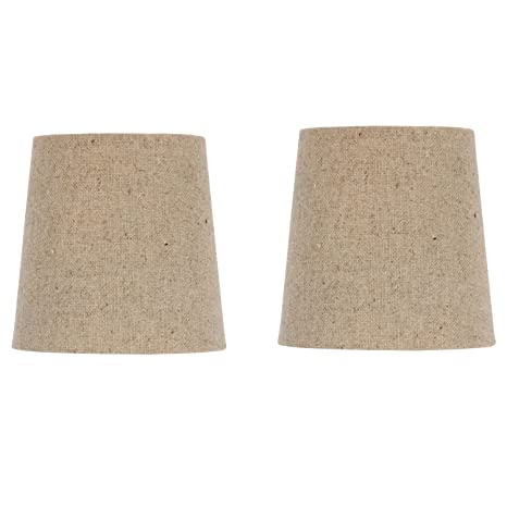 Chandelier Lamp Shade Clip on Shade 5 Inch Beige Linen Retro Drum Clips Onto