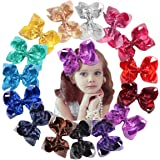 15Pcs Bling 6 Inch Hair Bows Large Big Sparkly Glitter Sequin Bows Alligator Hair Clips for Baby Girls Toddlers Kids…