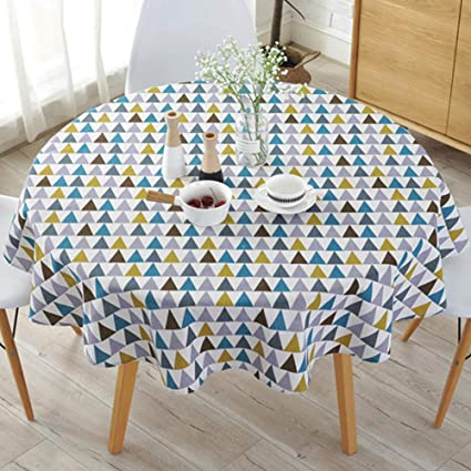 Round Table Cloth Linen Colorful Simple Style Twill Stripe Tablecloth Lovely Holiday Home Dining Party Use Covers Amazoncouk DIY