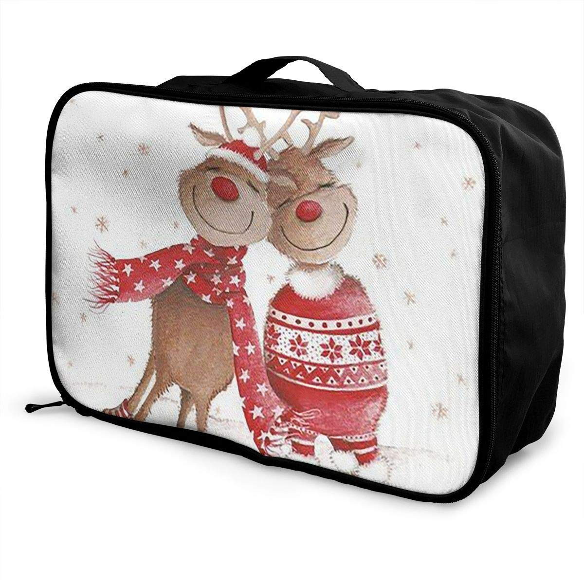 JTRVW Luggage Bags for Travel Portable Luggage Duffel Bag Merry Christmas Reindeer Travel Bags Carry-on in Trolley Handle