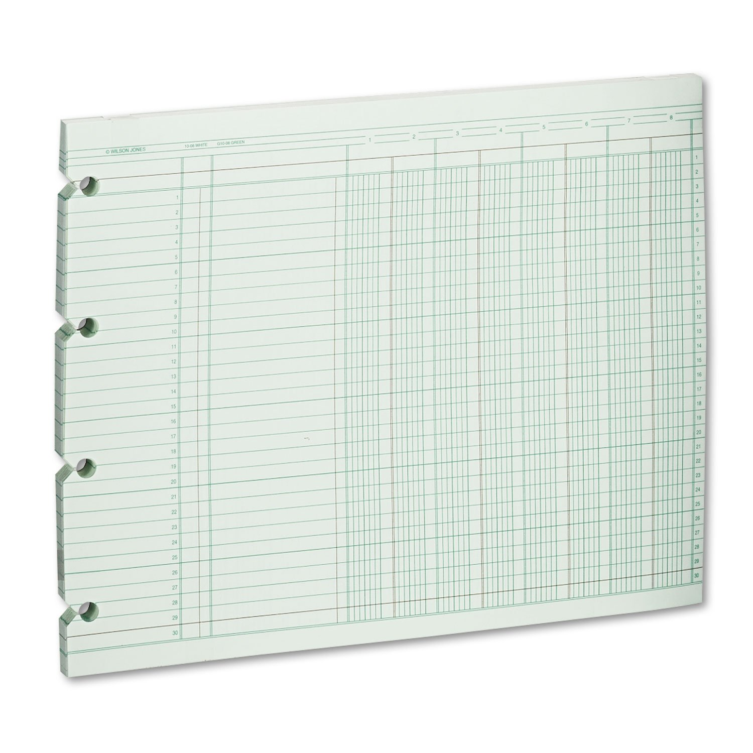 Wilson Jones G108 Accounting Sheets, Eight Column, 9-1/4 x 11-7/8, 100 Loose Sheets/Pack, Green