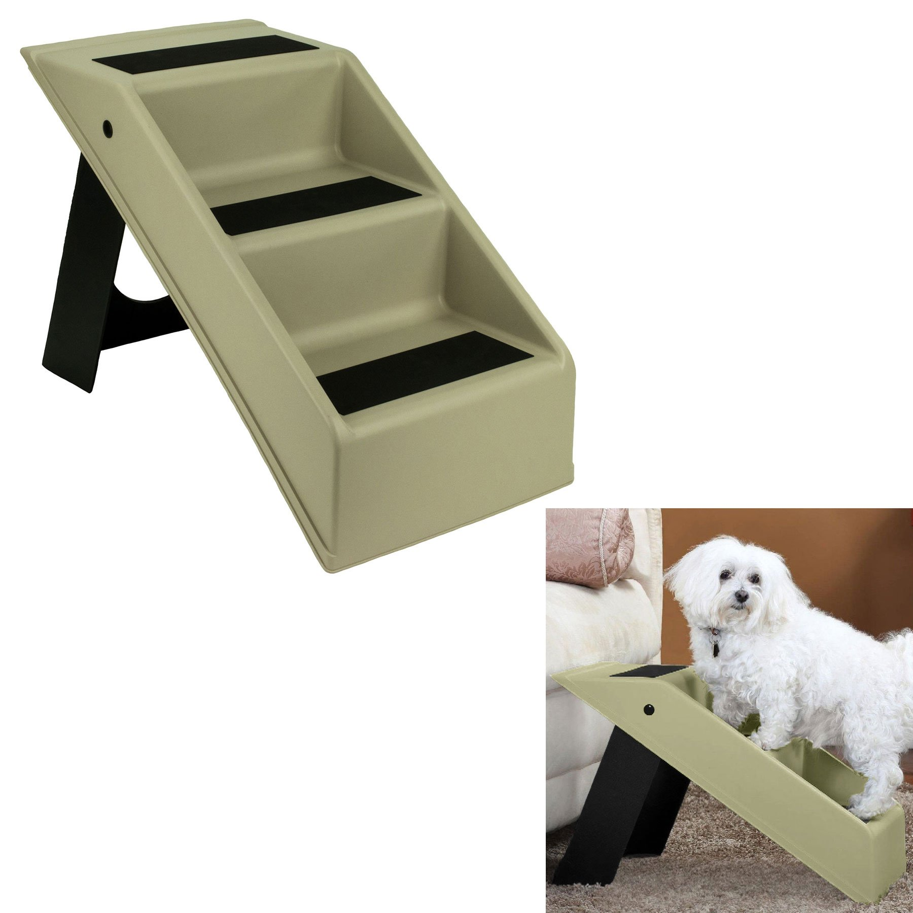 Pet Dog Stairs 3 Step Portable Folding Plastic Anti-Slip Easy-Up Sure Grip Steps