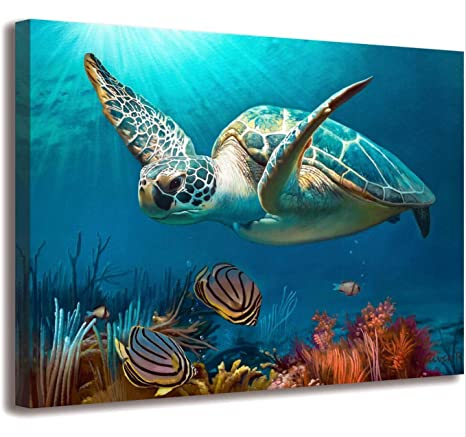 Amazon Com Bathroom Decor Beach Decor Sea Turtle Bathroom Art Beach Bathroom Decor Turtle Decor Hawaiian Decor Sea Turtle Decor Coastal Wall Decor Ocean Wall Art Blue Ocean Canvas Frame Print Ready To