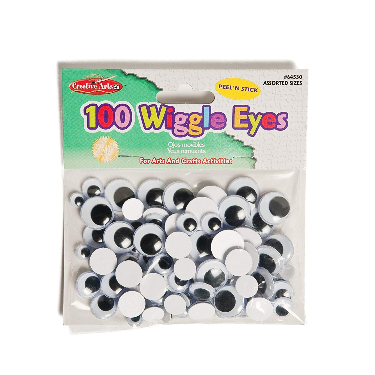 100//Bag Painted Assorted Sizes and Colors Creative Arts by Charles Leonard Wiggle Eyes 64520