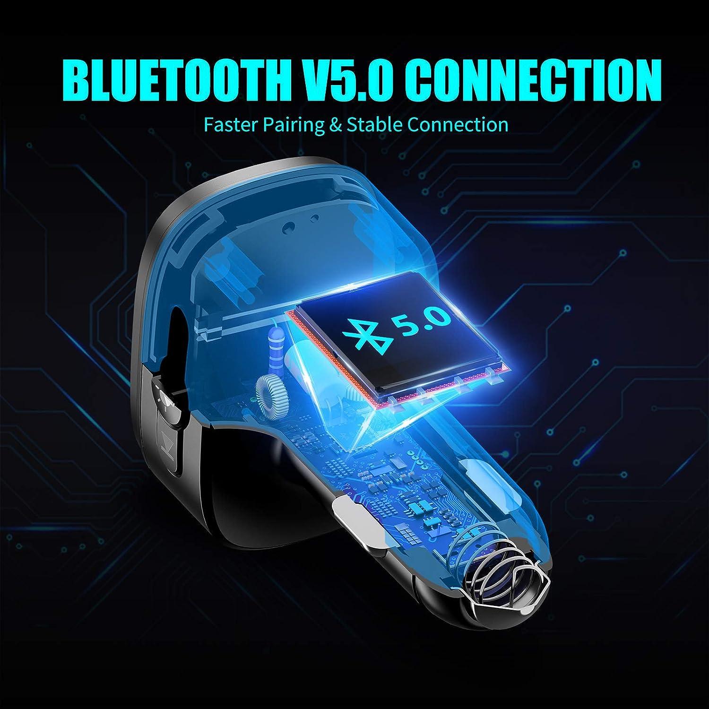 Kit para autom/óvil 2 en 1 con Carga r/ápida 3.0 2.4A Cargador para autom/óvil con Doble USB Inteligente Bovon Bluetooth Transmisor FM y Soporte magn/ético para tel/éfono para autom/óvil 5V