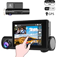 """OnReal 2-in-1 Dual 1080P WiFi Dash Cam, Driving Recorder with 3.0"""" Front Touchscreen and Interior Car Dashboard Camera, GPS Camera with Sony Starvis Night Vision Function, Motion Detection and etc."""