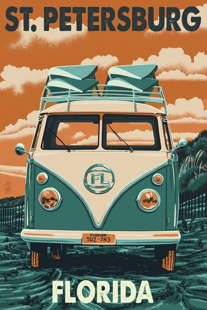St. Petersburg, Florida - Camper Van Letterpress (36x54 Giclee Gallery Print, Wall Decor Travel Poster)