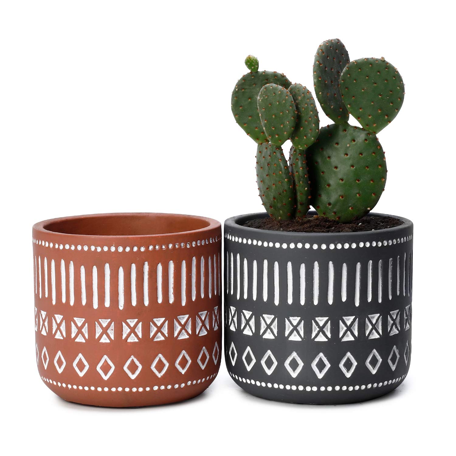 Potey Cement Plant Pots Concrete Flower Planters – 4.3 Medium Pot with Drain Hole – Handcraft Geometry Cylinder Deco Indoor – Set of 2, Brown, Grey