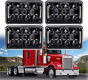 New Osram 4x6 inch 60W LED Headlights Rectangular Replacement H4651 H4652 H4656 H4666 H6545 with DRL for Peterbil Kenworth Freightinger Ford Probe Chevrolet Oldsmobile Cutlass(black,4pcs)