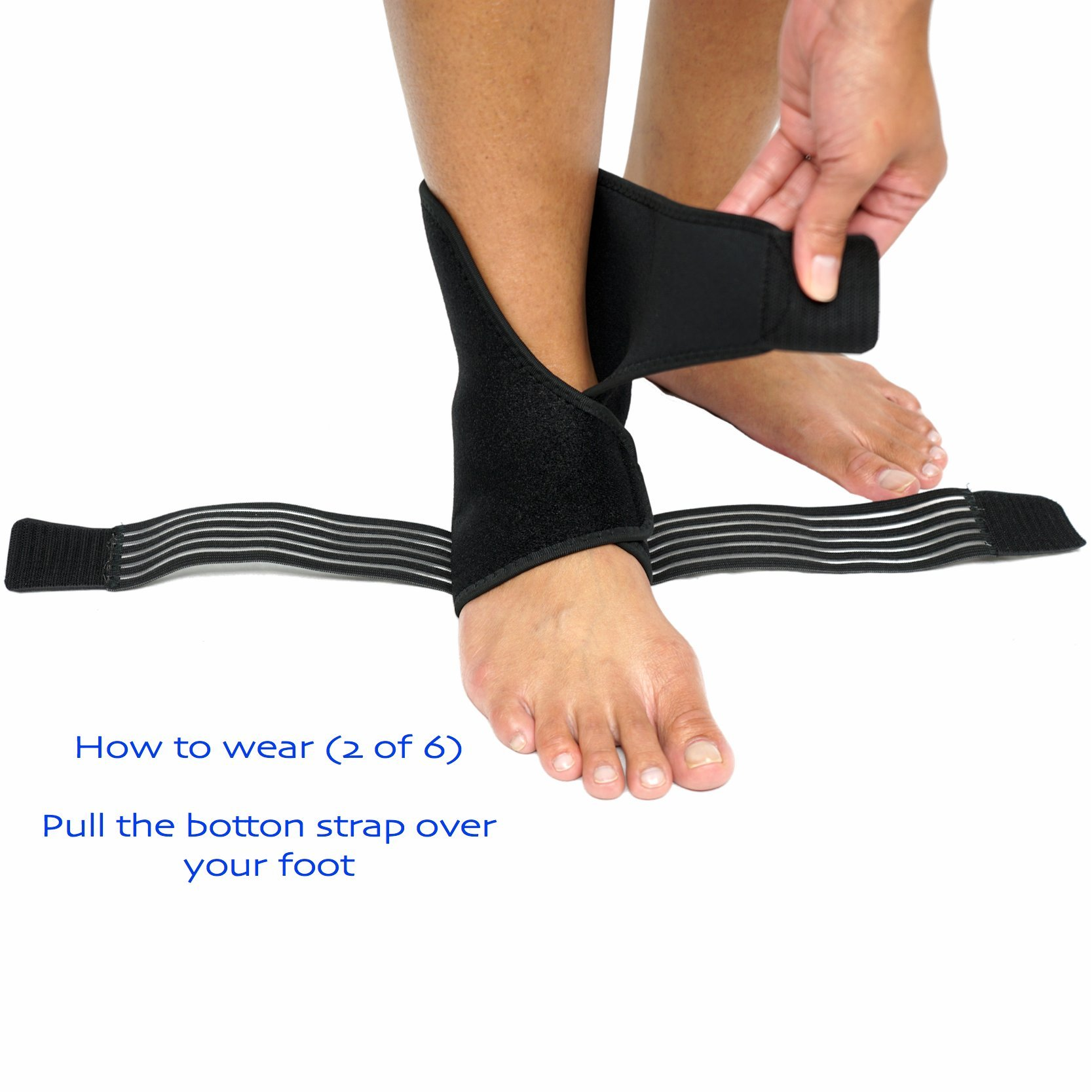 Ankle Brace (PAIR) with Bonus Straps, for Ankle Support, Plantar Fasciitis, or Swollen Ankles, One Size Fits Most, By ZSX SPORT (Foot Size - Reg) by ZSX (Image #4)