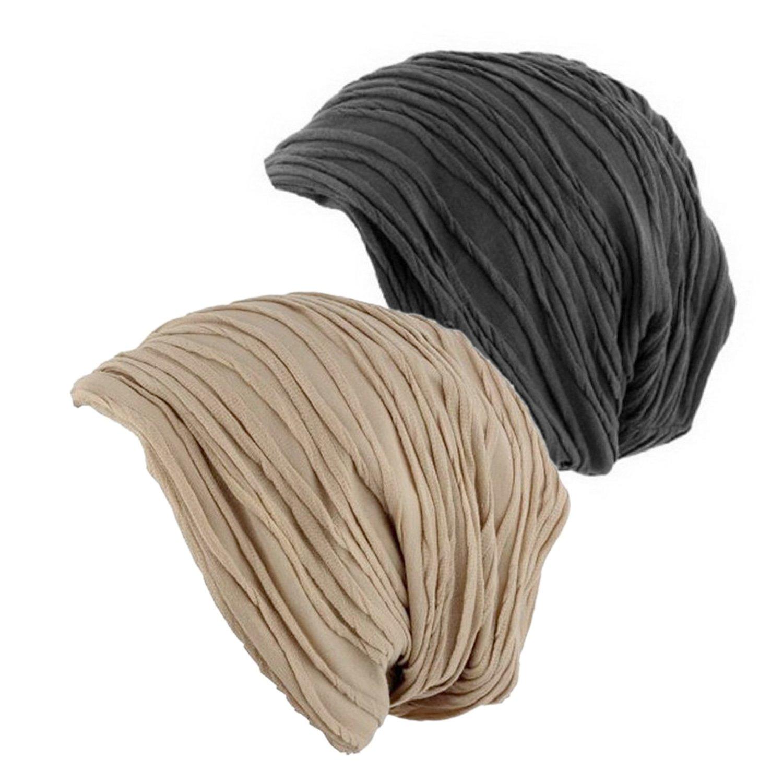 2 Pack Stylish Wrinkled Beanie Cap Slouchy Skull Hat Khaki/Grey by Senker