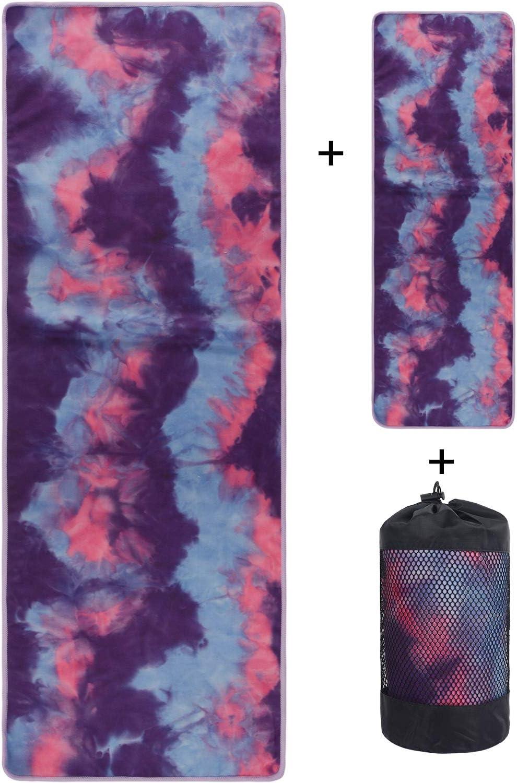 Doux Poches d/'Angle antid/érapantes Serviette de Sueur Bikram Yoga Chaud VIVOTE Lot de Serviettes de Yoga en Microfibre 26 x 72 cm Poids l/éger Pilates Serviette de Toilette 12 x 36 cm