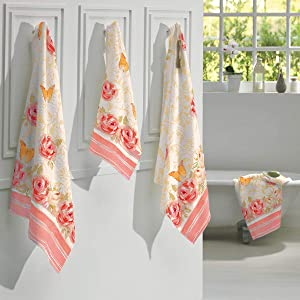 AdonisUSA Printed Bath and Hand Towel Set with Pretty Old Fashioned Floral Pattern. (Valentina-Pink 2 Bath+2 Hand Towel Set)