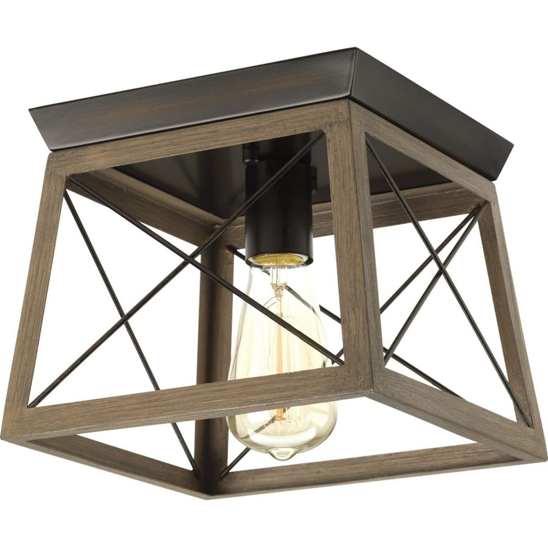 1灯ランタンペンダント - 人工木仕上げのオープンスチールフレーム 照明器具 B07N8L5TTW ブロンズ(antique bronze)