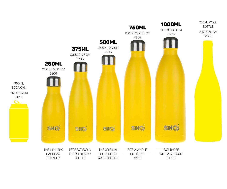 Botella de Agua y Vaso SHO Bottle 12 Horas Caliente /& 24 Fr/ía Garant/ía de Vida Botella /Última Aislada por Vac/ío de Doble Pared de Acero Inoxidable Sin BPA
