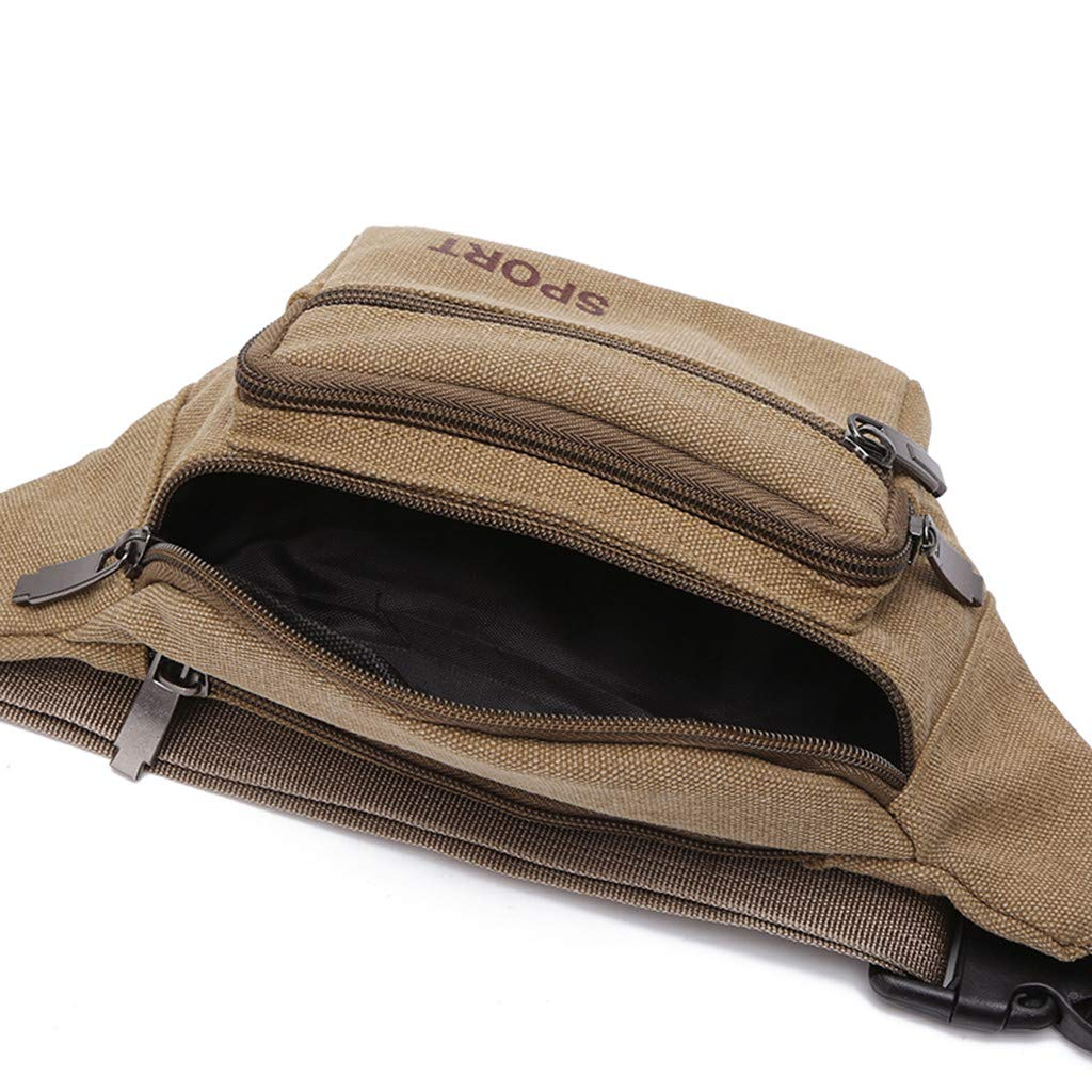 Bags,Unisex Multi-layer Large Capacity Canvas Waist Bag Messenger Bag Mobile Phone Case Hot sale FitfulVan Clearance