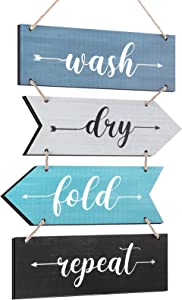 Rustic Laundry Room Wood Sign Wash Dry Fold Repeat Sign Vintage Laundry Hanging Signs Funny Laundry Room Wall Art Decor for Home Hotel Laundry Room Bathroom Hanging Wall Decor