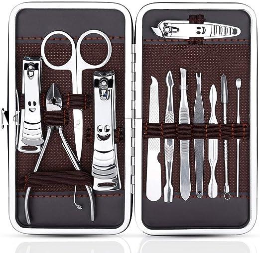 Manicura Pedicura Set 12 en 1 set manicura profesional de manicura de acero inoxidable Kit de aseo de tijeras cortaúñas: Amazon.es: Iluminación