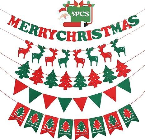 Navidad Decoración Casa Feliz Navidad Banner Navidad Material Fieltro Banner Decoración Para El Hogar Decoración Navideña Amazon Es Hogar