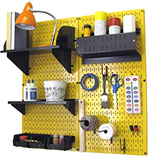 product image for Wall Control Pegboard Hobby Craft Pegboard Organizer Storage Kit with Yellow Pegboard and Black Accessories