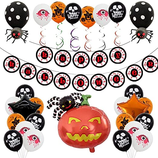 Titcch Halloween Party Decorations Supplies Favors, Party Pack, Happy Halloween Globo banderín, Enorme Ghost Foil ...