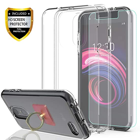 LG Aristo 3/LG Aristo 2 Plus/Aristo 2/Tribute Dynasty/Zone 4/Fortune  2/Rebel 4/Phoenix 4/K8 Plus Case with HD Screen Protector with Phone Ring