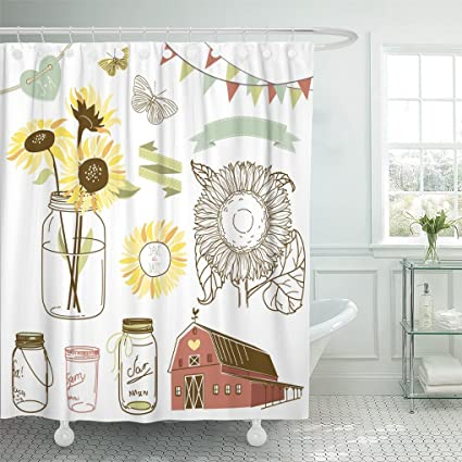 Emvency Shower Curtain Yellow Wedding Glass Jars Sunflowers Ribbons Bunting Butterflies And Cute Rustic Barn