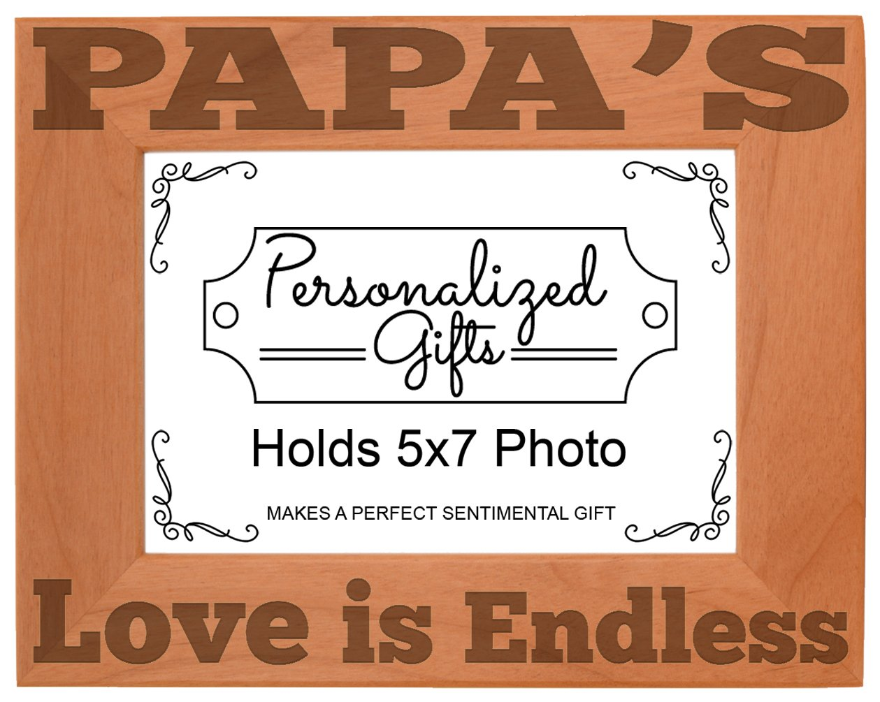 ThisWear Father's Day Gift Papa's Love is Endless Natural Wood Engraved 5x7 Landscape Picture Frame Wood