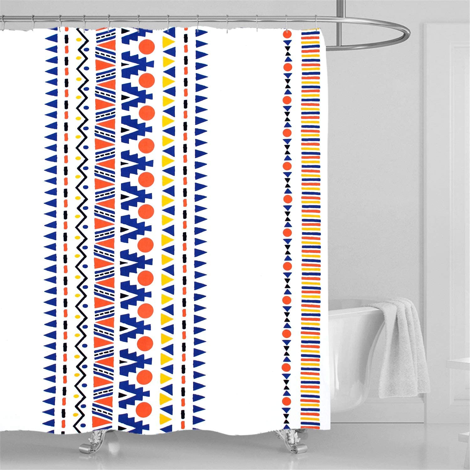 Bohemian Shower Curtain Colorful Triangle Striped Geometric Print Shower Curtain Home Bathroom Waterproof Decor with 12 Shower Hooks 72 x 72 inches