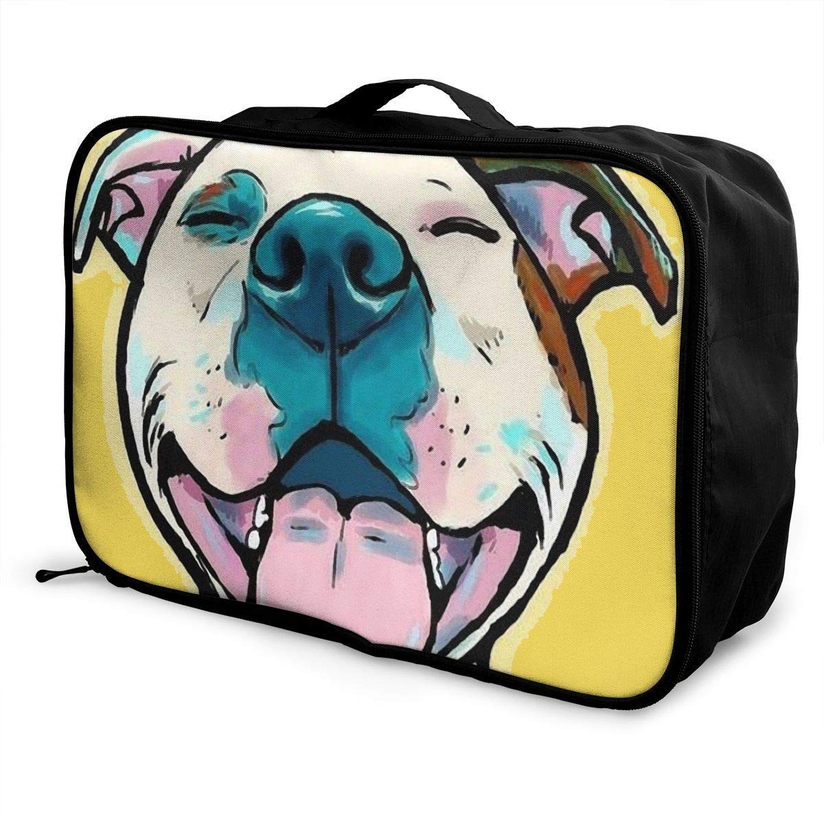 Portable Luggage Duffel Bag Pit Bull Cartoon Pit Bull Smile Travel Bags Carry-on in Trolley Handle JTRVW Luggage Bags for Travel