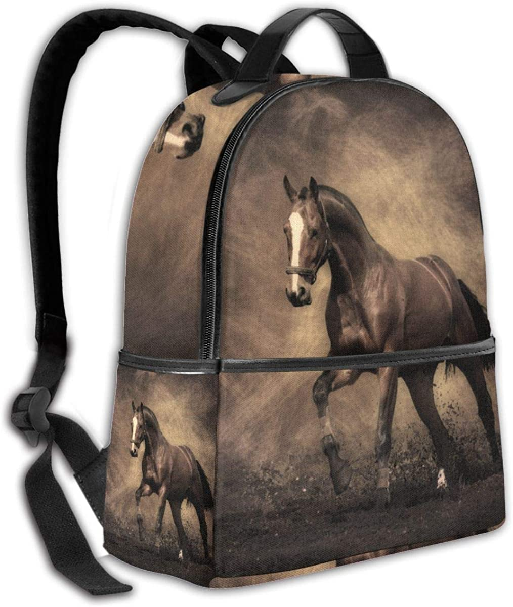 Animal Black Wild Horse Fashion Durable Unisex Backpack Water Resistant Anti Theft Notebook Computer Bag Middle High School Student Bookbag Travel Daypack