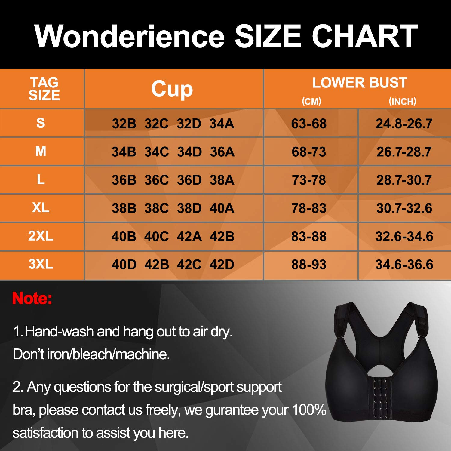 Wonderience Sports Support Bra Post-Surgical Wide Adjustable Straps with Front Closure Wirefree