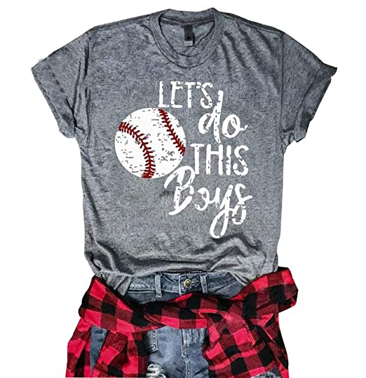 eb5c8c57 Amazon.com: Women's Let's Do This Boys Baseball Mom Shirt Letters Funny T- Shirt Graphic Casual Tees Tops: Clothing