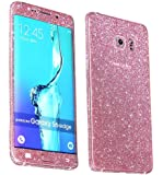 Heartly Sparking Bling Glitter Crystal Diamond Protective Film Whole Body Phone Skin Sticker For Samsung Galaxy S6 Edge SM-G925 - Cute Pink