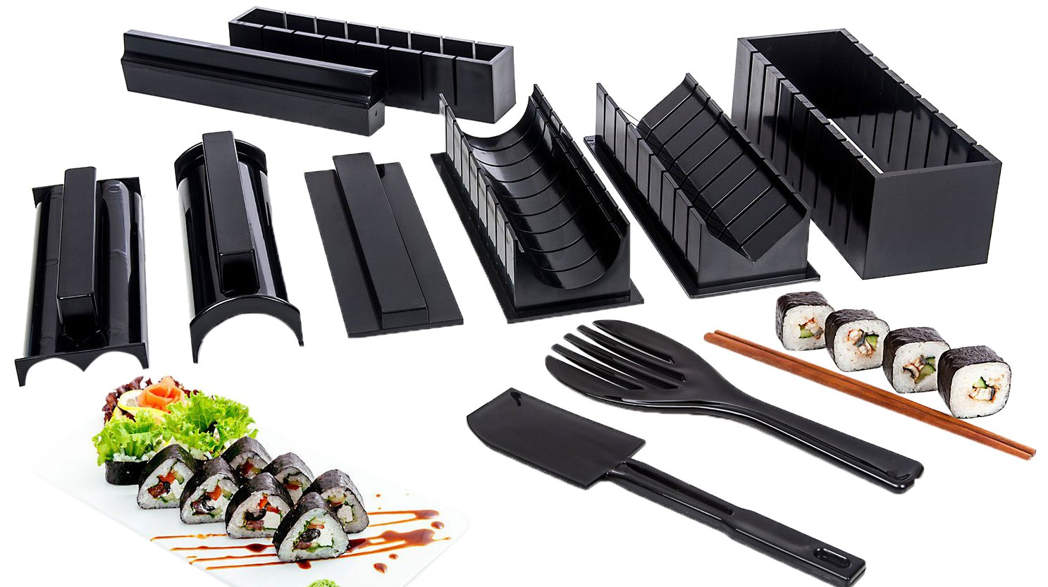 Sushi Making Kit-with Complete Rice Press Mold Set-in Various Shapes & Sizes-Round Triangle Square Rectangle Mickey Mouse Ears-Perfect Roll Maker Tools-for Maki Nigiri-Make Your Own Sushi At Home